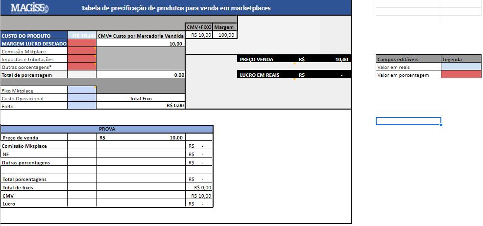 Planilha de preço grátis para marketplaces